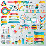 Infographic Elements Collection - Business Vector Illustration in flat design style for presentation, booklet, website etc. Big set of Infographics