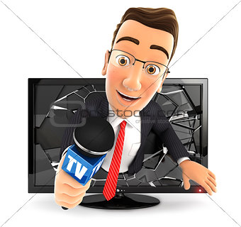 3d businessman with microphone coming out of television