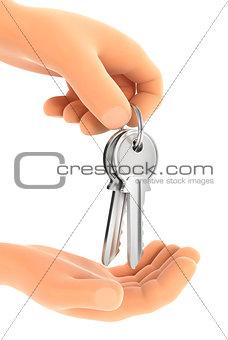 3d hand handing over the keys