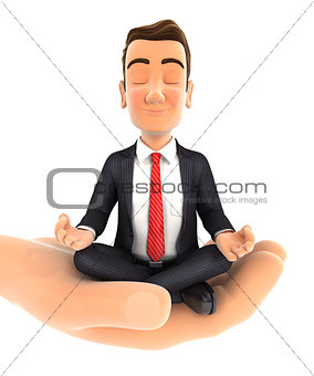 3d hand holding businessman doing yoga