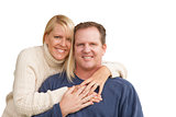 Happy Attractive Caucasian Couple on White