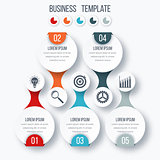 Infographics template five options with circle