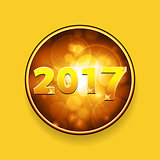 New year Twenty Seventeen border with stars on yellow background