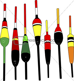 Fishing Floats of Different Types and Colors