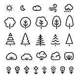 Isolated black color outlined coniferous trees,bushes,flowers and weather forecast signs in monochrome lines logo set. Simple flat vector illustrations of nature elements on white. Eco symbols.