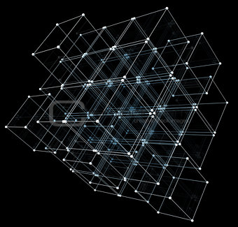 Abstract cubes. Network connection background