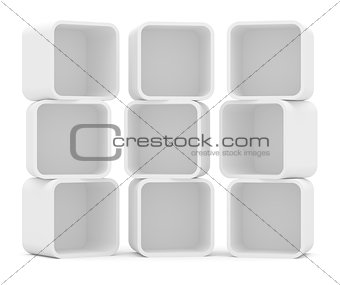 Three empty white rounded showcase. Isolated