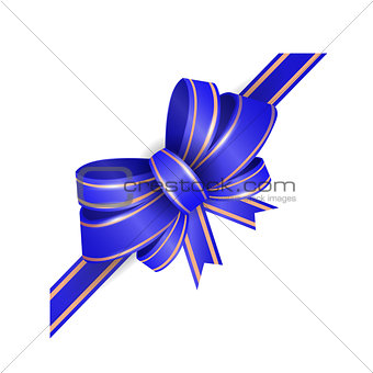 blue bow. Vector