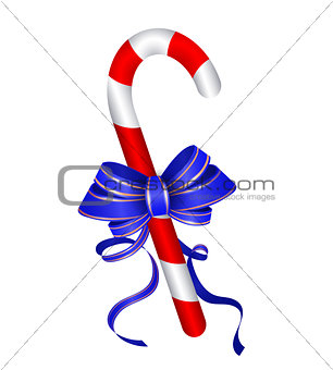 Christmas candy cane withblue bow