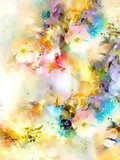 Abstract colorful watercollor design with flower and spots. computer art.