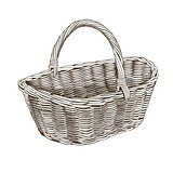 Vintage Basket In Woodcut Style