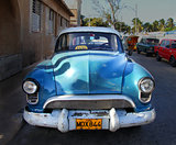 Bright blue retro car