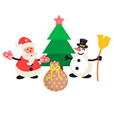 Santa Claus and Snowman cartoon vector illustration.