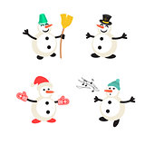 Snowman cartoon vector icon set.