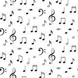 Musical notes seamless vector pattern.