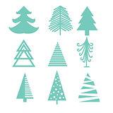 Creative green mint Christmas tree set.
