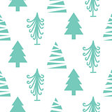Christmas trees seamless vector pattern.