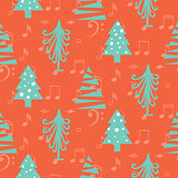 Christmas trees seamless red vector pattern.