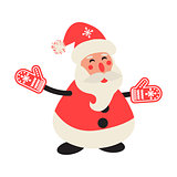Cartoon happy Santa Claus in red mittens.