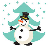 Happy snowman cartoon vector icon
