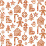 Gingerbread cookies vector seamless pattern.