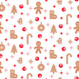 Gingerbread cookies vector seamless pattern.