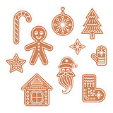 Gingerbread cookies vector illustration.