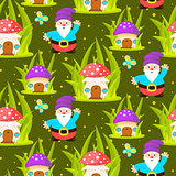 Forest mushroom home and gnomes seamless pattern.
