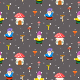 Mushroom home and gnomes seamless pattern.