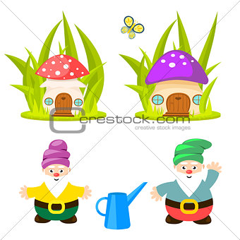Forest gnomes and mushroom houses vector.