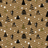 Gold and black christmas winter woods seamless pattern.