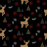 Black and gold deer in a forest seamless pattern.