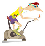 Sportsman trains on exercise bike