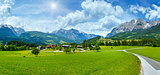 Summer sunshiny Alpine country panorama