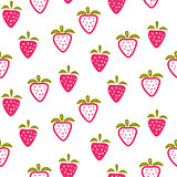 Strawberry pink and white seamless pattern.