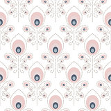 Peacock pale pink seamless vector pattern.
