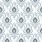 Peacock pastel blue seamless vector pattern.