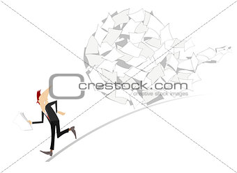 Businessman and big ball of documents