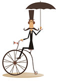 Cartoon man rides a bike