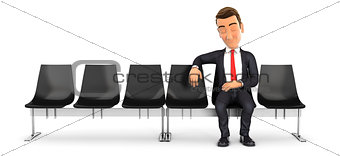 3d businessman sleeping in waiting room