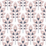 Stylized leaf pale pink seamless pattern.