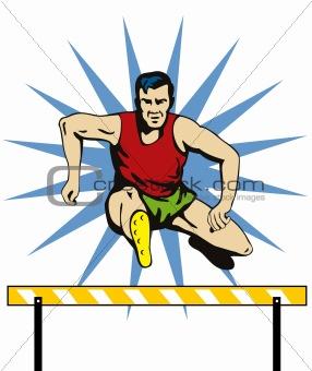 Athlete jumping hurdles