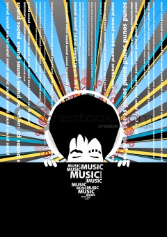 Funky music poster with cool man with headphones and text decora