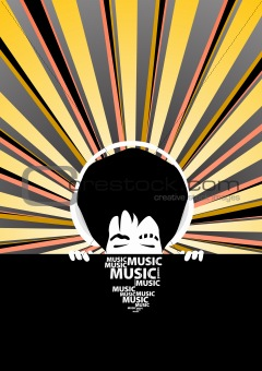 Funky music poster with cool man with headphones