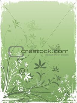 Grunge flowers and butterflies