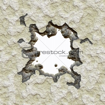 Broken cement wall
