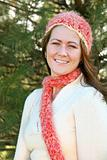 Woman in Pink Scarf and Hat