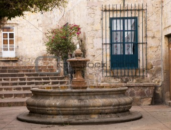 Small Courtyard Plaza Fountain Morelia Mexico