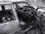 Destroyed Burned Car