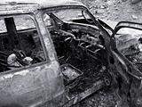 Destroyed Burned Car